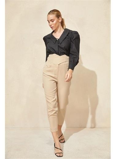 Setre Bej Yüksek Bel Korse Detaylı Pantolon Bej